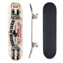 Lelly Q Complete Skateboard – 31″ x 8″ Inches,8 Layer Maple Wood Tricks Skate  ...