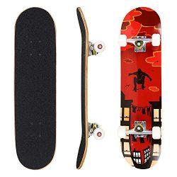 Hikole Skateboard Kids Teen Adult – Complete Profession Wood Full Size Skate Board 31̸ ...