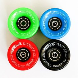 Freedare Skateboard Wheels 60mm 83a with Bearings and Spacers Cruiser Wheels (Colours,Pack of 4)