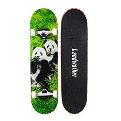 Landwalker Pro Cruiser Complete Girl Skateboard 31×8 Inch Skateboards cheap skateboard (Panda)