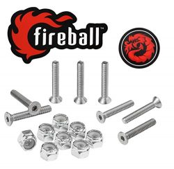 Fireball Dragon Stainless Steel Skateboard Hardware Set (Flat Allen, 1.25″)