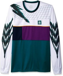 adidas Originals Men's Skateboarding Tennis Jersey, White/Tribe Purple/Real Teal, L