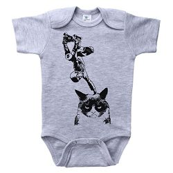 Baffle Cat Baby Onesie/Unisex Infant Bodysuit/Skateboarding CAT Plant/Skateboard (3-6M, Grey SS)
