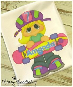 Girls Skateboard Personalized Birthday Shirt Any Number or Name Bright Bold Pinks and Purples