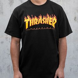 Thrasher Magazine Flame Logo T-Shirt – Large- Black