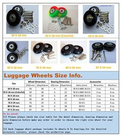 Eric_Leon 2 Set of Luggage Suitcase Replacement Wheels with ABEC 608zz Bearings, Packaged with o ...