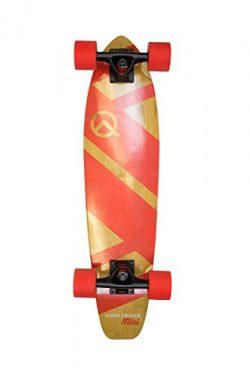 The Super Cruiser Mini 27″ Red Bamboo and Maple Longboard Skateboard