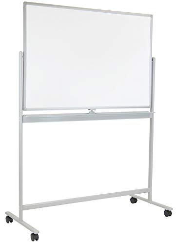 Mount-It! Double-Sided Mobile Magnetic White Board with Locking Caster Wheels, Wall Mountable, 3 ...