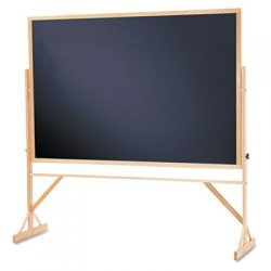 Quartet Reversible Black Melamine Chalkboard, 4 x 6 Feet, Includes Accessory Rail, Hardwood Fram ...