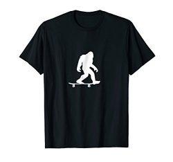 Mens Bigfoot Skateboarding Shirt Funny Cool Sasquatch Skater Gift Medium Black