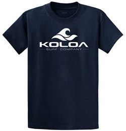 Koloa Surf Classic Wave Logo Cotton T-Shirt X-Large Tall-XLT,Navy/w