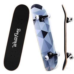WhiteFang Skateboard 31 x 7.88 Skateboard Complete, 7 Layer Canadian Maple Double Kick Concave S ...