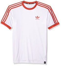 adidas Originals Men's Skateboarding Clima Club Jersey, White/Trace Scarlet, S