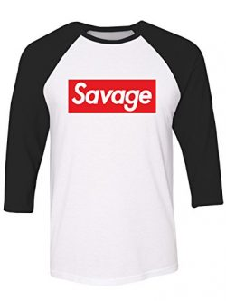 Manateez Men's Savage Skateboarding Raglan Tee Shirt XL White/Black
