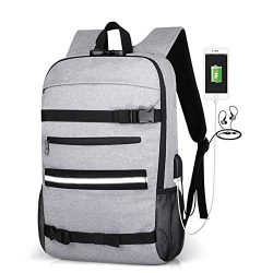 "16"" Skateboard Backpack Travel Anti Theft Laptop School Bag with USB Charging Port & H ..."