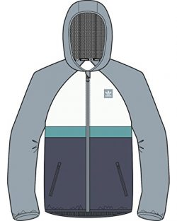 adidas Originals Men's Skateboarding Blackbird Wind Jacket, Ash Grey/Shock Green, 2XL