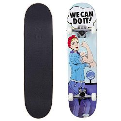Cal 7 Complete Skateboard, 7.75 Deck with 5 Inch Trucks, Full Size Pro Popsicle Board for Kids & ...