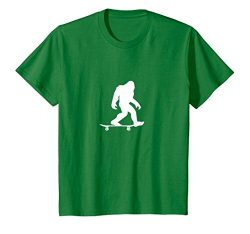 Kids Bigfoot Skateboarding Shirt Funny Cool Sasquatch Skater Gift 6 Kelly Green