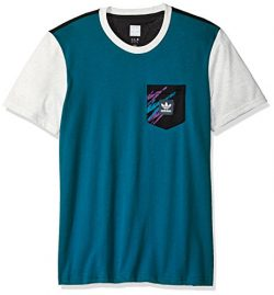 adidas Originals Men's Skateboarding Tennis Pocket Tee, Real Teal/Black/Pale Melange, XL