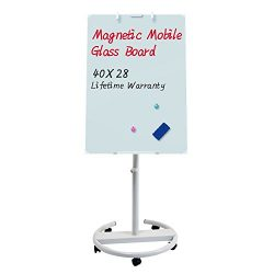 Glass Whiteboard – Magnetic Glass Dry Erase Board 40×28 Inches Mobile Glass Board, He ...