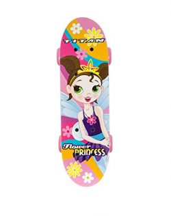 Titan Flower Princess Complete Skateboard for Girls (5+ Ages), 17-Inch, Pink