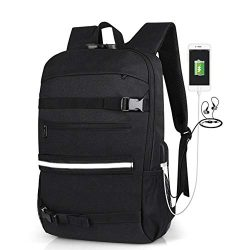 """16"""" Skateboard Backpack Travel Anti Theft Laptop School Bag with USB Charging Port & H ..."""