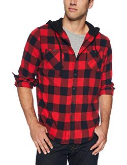 UNIONBAY Men's Classic Flannel Hoodie, Stop, Large