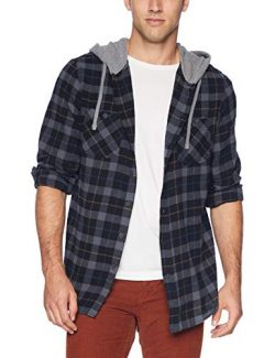 UNIONBAY Men's Classic Flannel Hoodie, New Black, Large