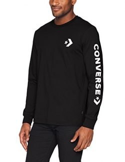Converse Men's Star Chevron Wordmark Long Sleeve T-Shirt, Black, M