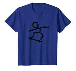 Kids Skateboard Skateboarding Stick Figure T-Shirt 10 Royal Blue