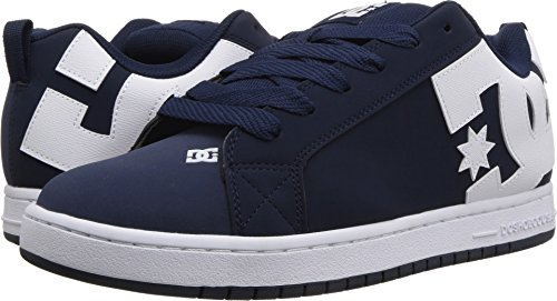 DC Men's Court Graffik Skate Shoe, Navy White, 18 D D US