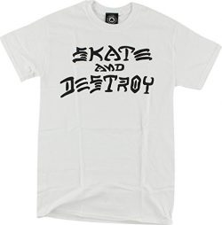 Thrasher Magazine Skate and Destroy White Men's Short Sleeve T-Shirt – Large