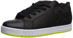 DC Men's Court Graffik Skate Shoe, Black/Lime, 10.5D D US