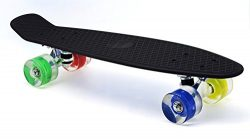 Merkapa 22″ Complete Skateboard with Colorful LED Light Up Wheels for Beginners (Black)