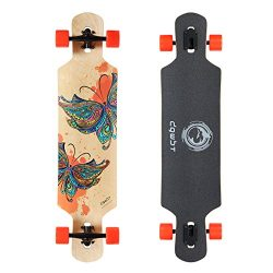 DGWBT Bamboo 41 inch Drop Through Longboard Skateboard Complete (maple)
