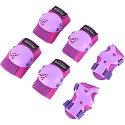 Bosoner Kids/Youth Rollerblade Roller Skates Cycling Knee Pads Elbow Pads (Purple, Medium(6-15 y ...