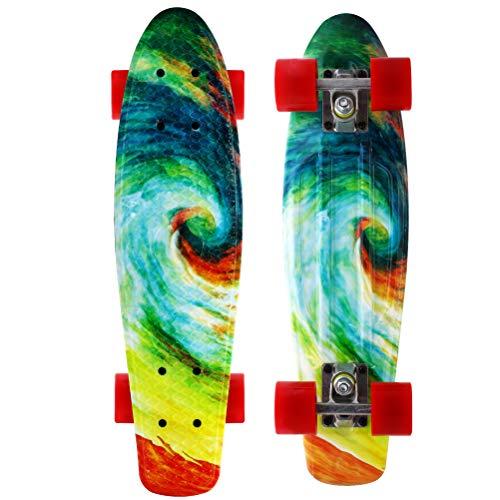 Merkapa Complete 22 inch Skateboard for Kids, Beginners (Multi-Green)