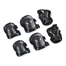 Overmont Skateboard Roller Blading Elbow Knee Wrist Protective Safety Gear Pad Guard 6pcs Set Si ...