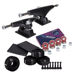 Cal 7 5.25 Inch Skateboard Trucks, 52mm Wheels, Plus Bearings Combo Set (Black Trucks, Black Wheels)
