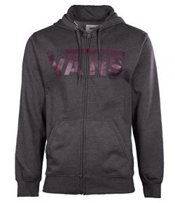 Vans Men's Classic Logo Full Zip Skateboarding Hoodie-Dark Gray/Plum-Large