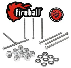 Fireball Dragon Stainless Steel Skateboard Hardware Set (Button Allen, 3.0″)