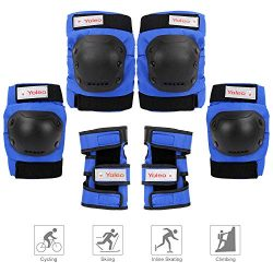 Yoleo Knee Pads Elbow Pads Wrist Guards for Kids/Youth/ Adults, 3 in 1 Protective Gear Set (Blue ...