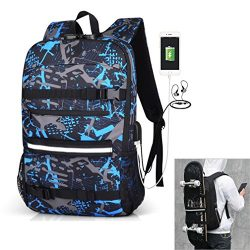 Skateboard Backpack Travel Backpack Anti-Theft Backpack Laptop School Bag with USB Charging Port ...
