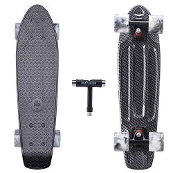"Playshion Complete 22"" Mini Cruiser Skateboard for Beginner with Sturdy Deck"