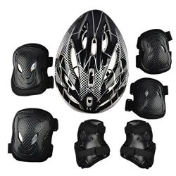 FenglinTech Protective Gear, 7Pcs Elbow Wrist Knee Pads and Helmet Sport Safety Protective Gear  ...