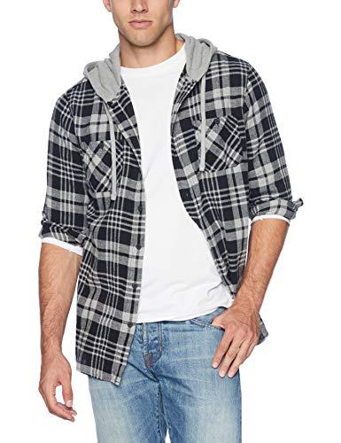 UNIONBAY Men's Classic Flannel Hoodie, New Dark Medium Grey Heather, Small