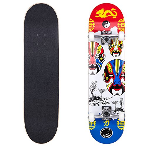 Cal 7 Complete Skateboard, Popsicle Double Kicktail Maple Deck, 31 Inches, Perfect for All Skate ...