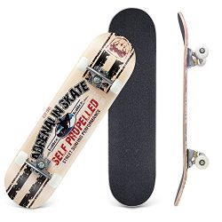 CCTRO Skateboards 31″ Pro Skateboard Complete, 8 Layer Maple Skateboard Deck for Extreme S ...