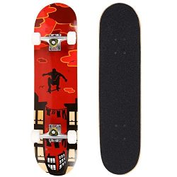 Goldenfox 31″x 8″ Pro Complete Skateboard, 9 Layer Maple Wood Double Kick Concave St ...
