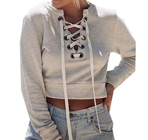 ForeverGod Women's Bangdage Shirt Sexy Short Long Sleeve Sweatshirts White US L